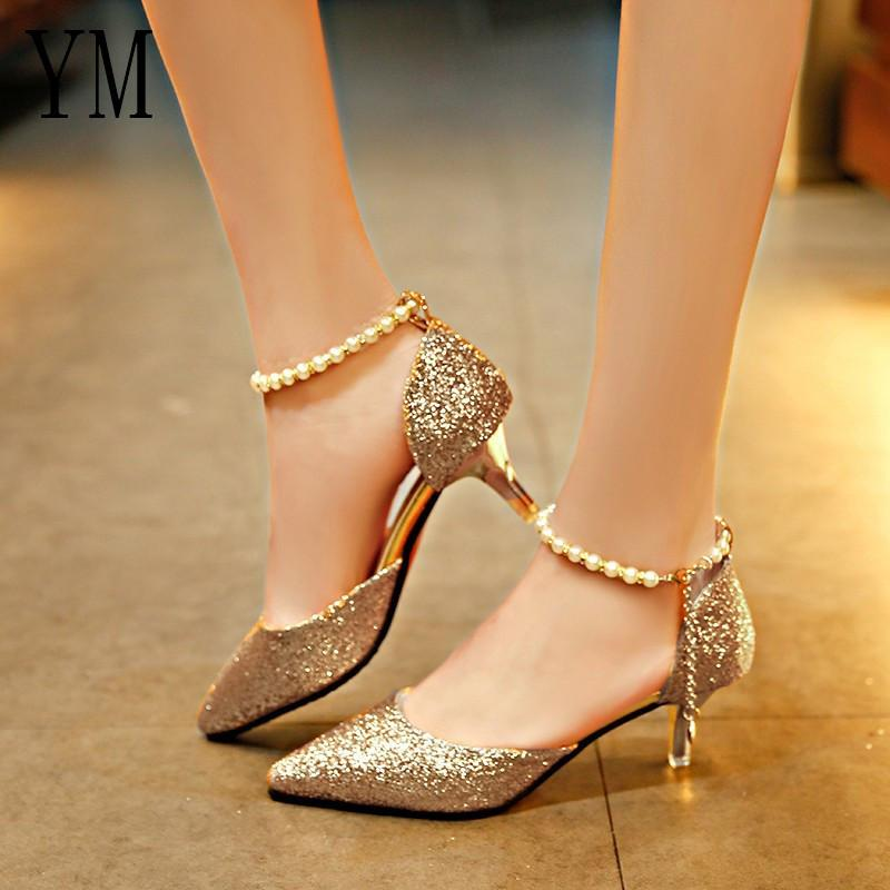 a73ecb39b147f0 Sexy Pointed Toe Pearl High Heels Shoes Female Fashion Hollow With Sandals  Paillette Of The Thin Breathable Shoes Women Pumps Oxford Shoes Ladies Shoes  From ...