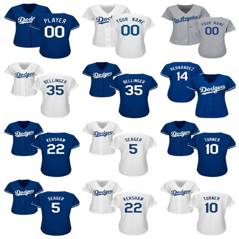 pretty nice ab187 f81f0 womens Custom LA Dodgers jersey Cody Bellinger Corey Seager Enrique  Hernandez Justin Turner Clayton Kershaw Baseball Jerseys