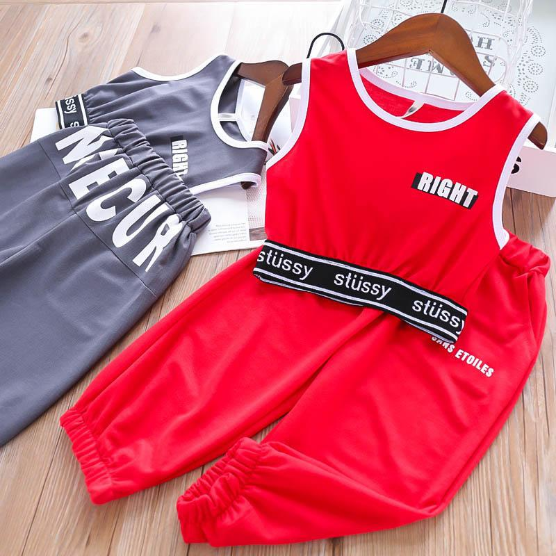 2019 new kids summer clothes girls suits casual kids tracksuits Fashion Children sweat suit kids designer clothes girls outfits A5460