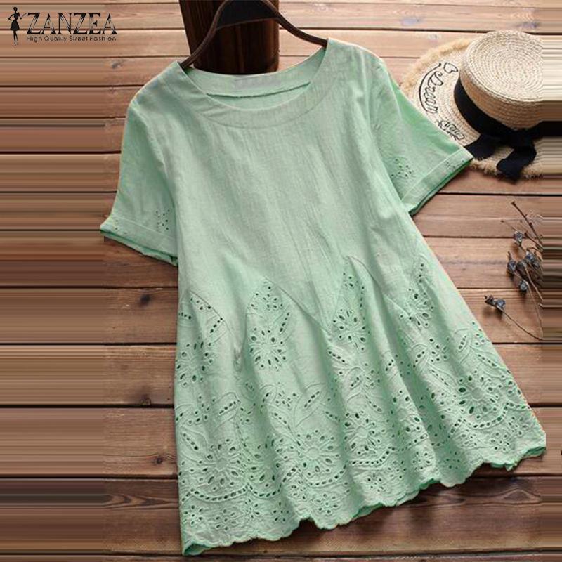 77d180f095d9a Zanzea 2019 Summer Women Clothing O Neck Short Sleeve Solid Blouse Loose  Top Casual Ruffles Cotton Linen Shirt Blusas Plus Size C19042001