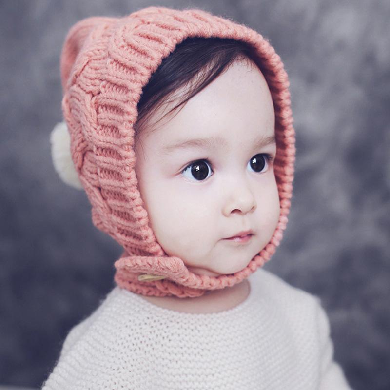 002e8416377a9 2019 Baby Girls Earflaps Knit Hats Infant Toddler Girls Winter Warm ...