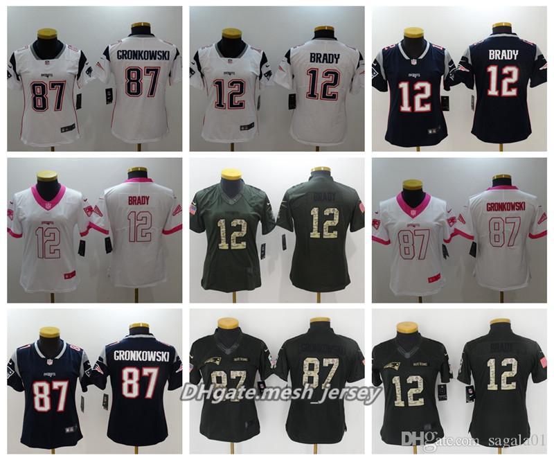 Women New American Football Patriots Jersey 87 Rob Gronkowski 12 Tom ... 9ff0001d3