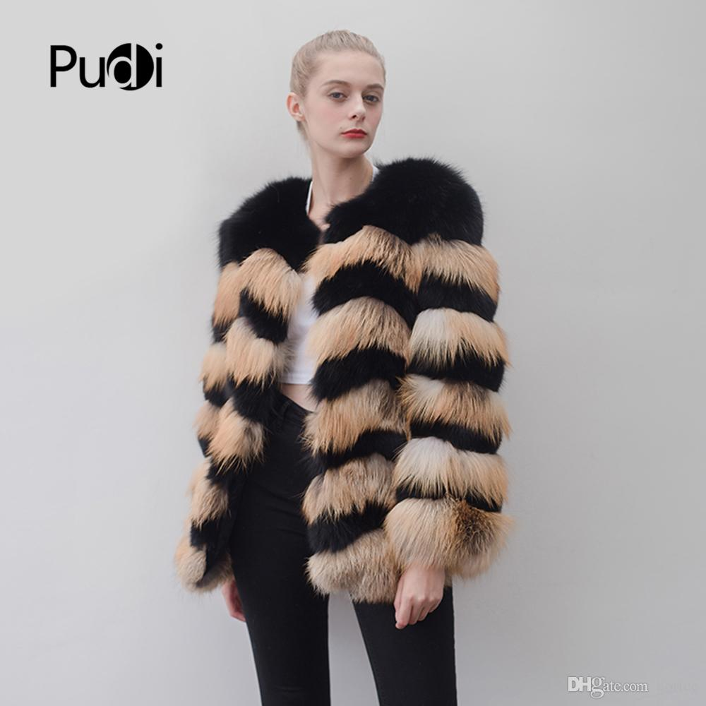 f38364d808 2019 Pudi CT915 Women Knitted Real Red Fox Fur Coat Jacket Overcoat ...