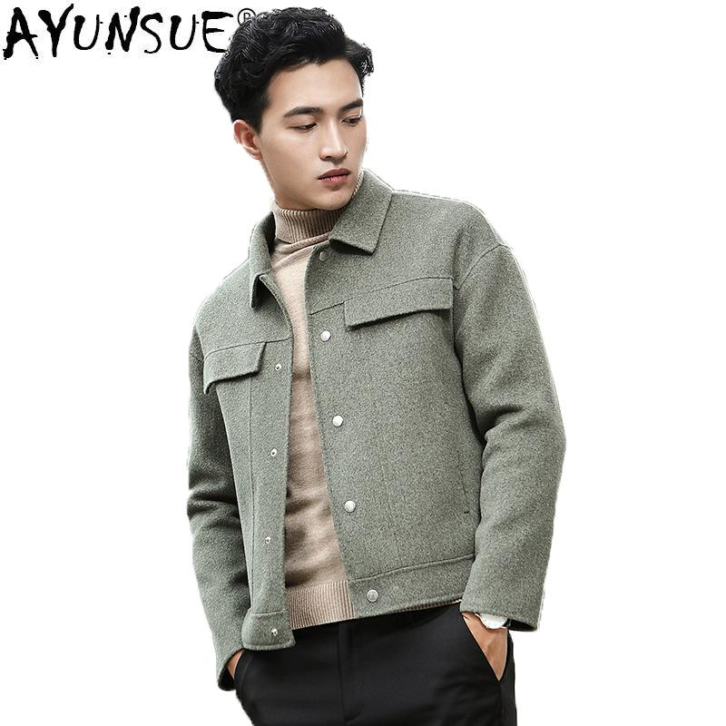 b05c248d339 2019 AYUNSUE Double Face Wool Coat Men Short Spring Autumn Jacket Male  Korean Mens Overcoat Coats Casaco Masculino New Arrival KJ1386 From  Cover3127