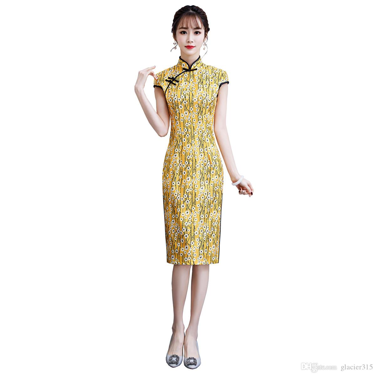 ad08de5ac Shanghai Story Knee Length Qipao Faux Silk Chinese Traditional Dress  Oriental dress Chinese Women's Clothing Lace Cheongsam