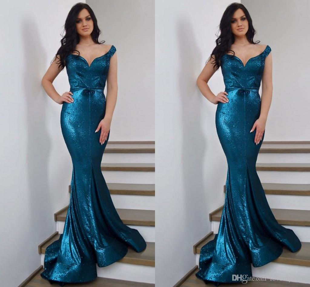 9387cc62e0242 2019 New Arrival Teal Mermaid Prom Dresses Off The Shoulder V Neck Open  Back Dresses Evening Wear Formal Dress Sequined Party Dress Long Prom Gowns  2015 ...