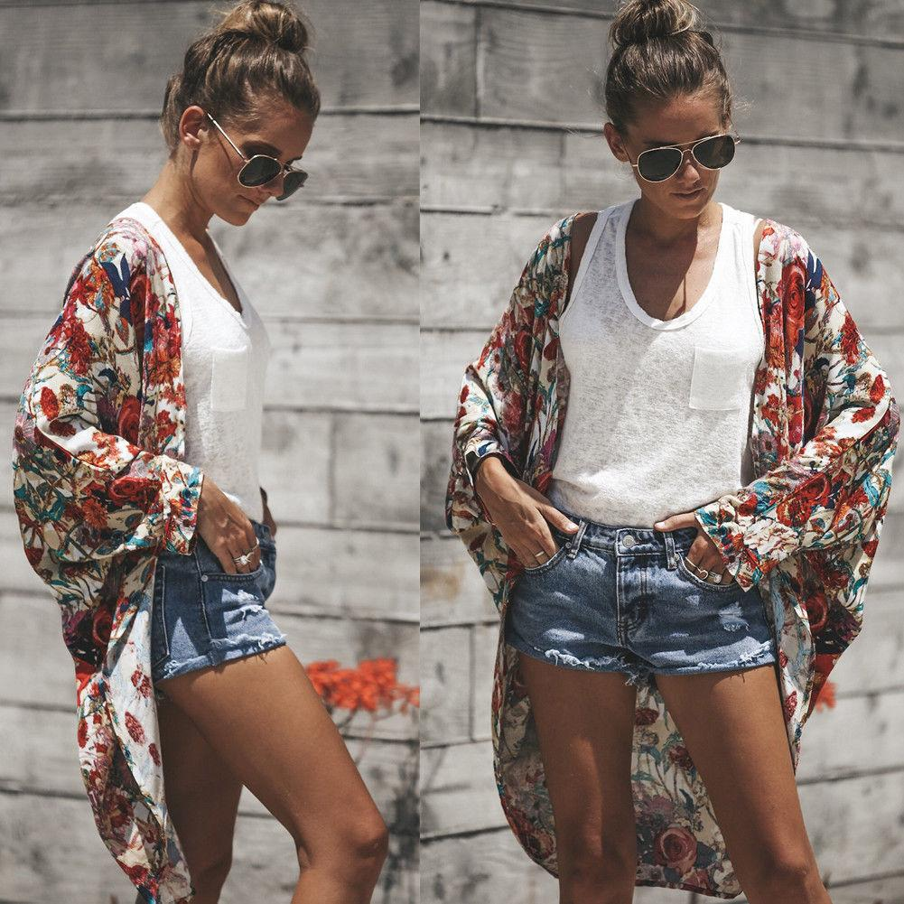 e3696ba1fbcf5 Women Summer Floral Shawl Kimono Cardigan Tops Beach Cover Up Beachwear  Long Sleeve Blouses Floral Casual Women Tops Online with $32.03/Piece on ...