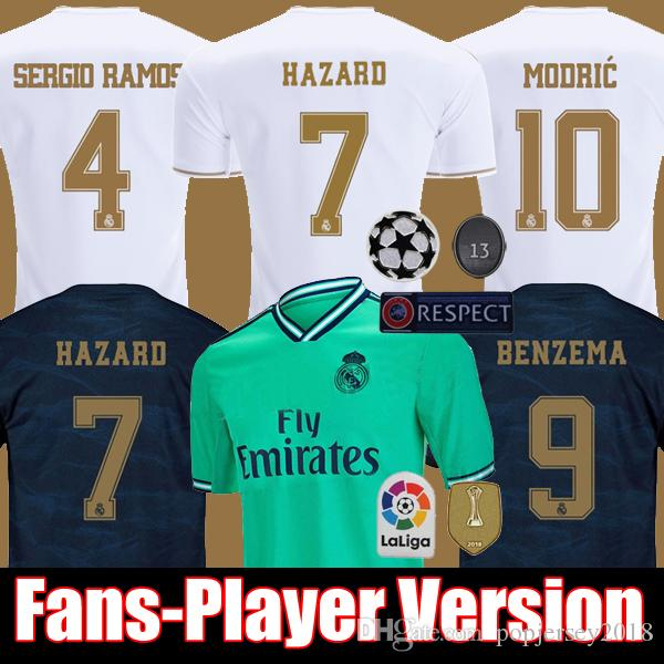 FANS PLAYER VESION 19 20 HAZARD JOVIC MENDY RODRYGO REAL MADRID soccer jerseys 2019 2020 camisetas football shirt men and kids kit sets tops
