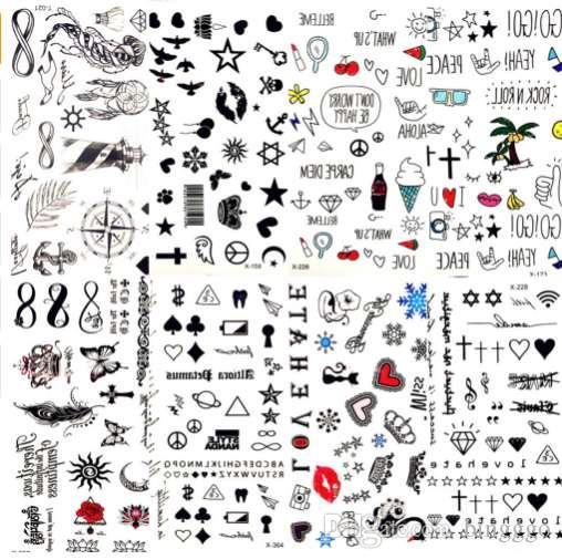 b9b5488ab34f6 Hot Small Sexy Lips Leaf Black Cartoon Temporary Tattoo Cute Star Tattoo  Sticker Love Women Body Finger Art Waterproof Tatoo Kid Temporary Silver  Tattoos ...