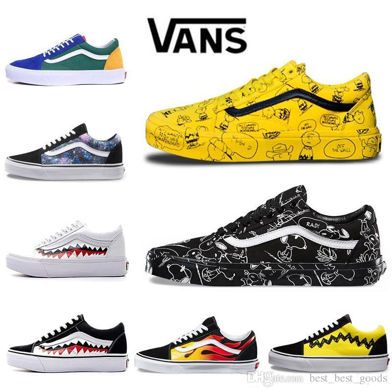 d48ce90585 2019 Vans Old Skool Men Women Casual Shoes Rock Flame Yacht Club Sharktooth  Peanuts Skateboard Canvas Mens Trainer Sports Running Shoe Sneakers From ...
