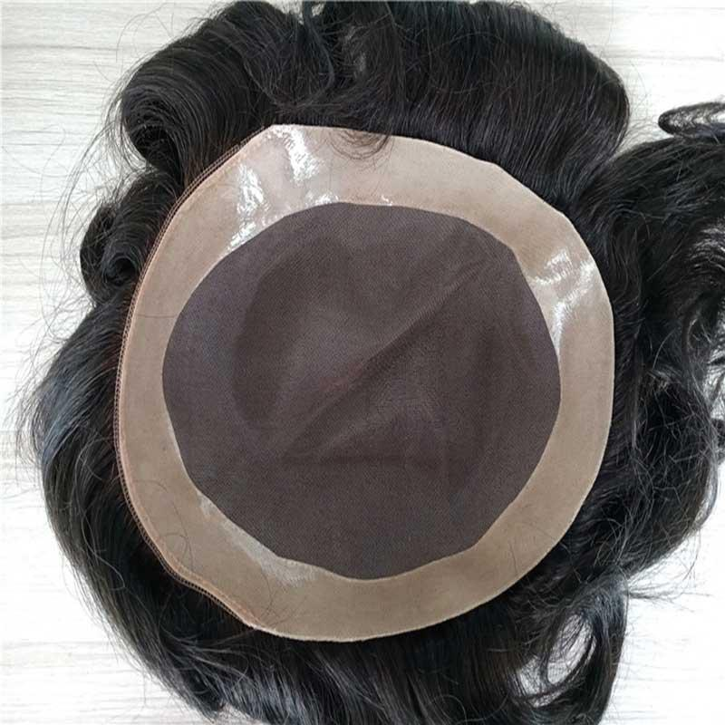 TKWIG Fast shipping 6x8 Indian Mono based Toupee for men with Tansparent PU Around Quality Hair Piece Replacement System Natural Hairline