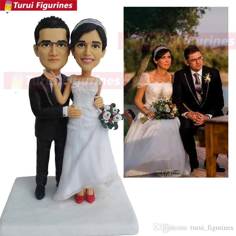 wedding cake topper man and woman rose gold Custom bobblehead mini love statue cheap bobble head by Turui Figurines sculpture