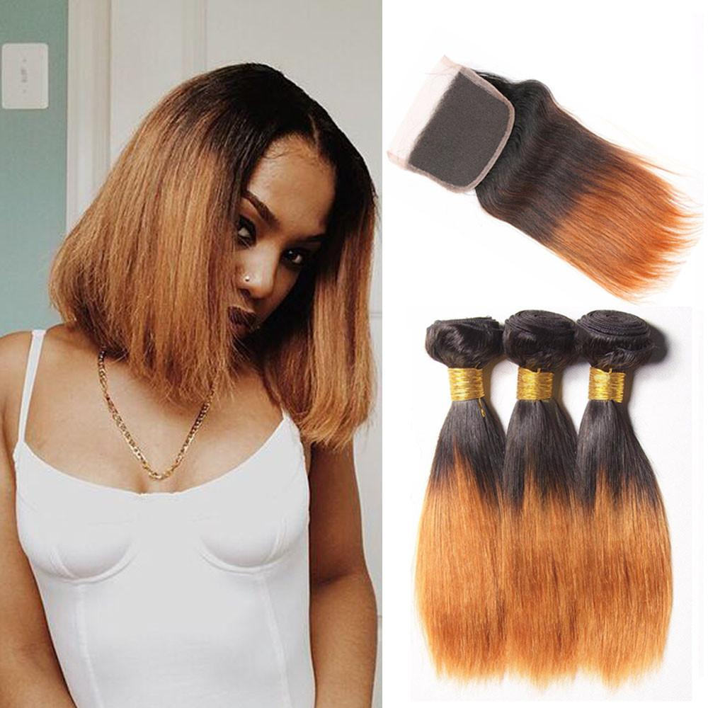 Ombre Brazilian Human Hair Bundles With Closure Two Tone Bob Straight Hair 3/4Bundles With Closure Non Remy 1B/27(30) Hair Weave