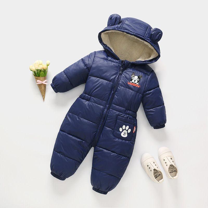 1bf9d501e Buena calidad de invierno bebé niños mamelucos de algodón con capucha  espesar monos niño recién nacido ocasional pijamas calientes ropa de dormir  ...