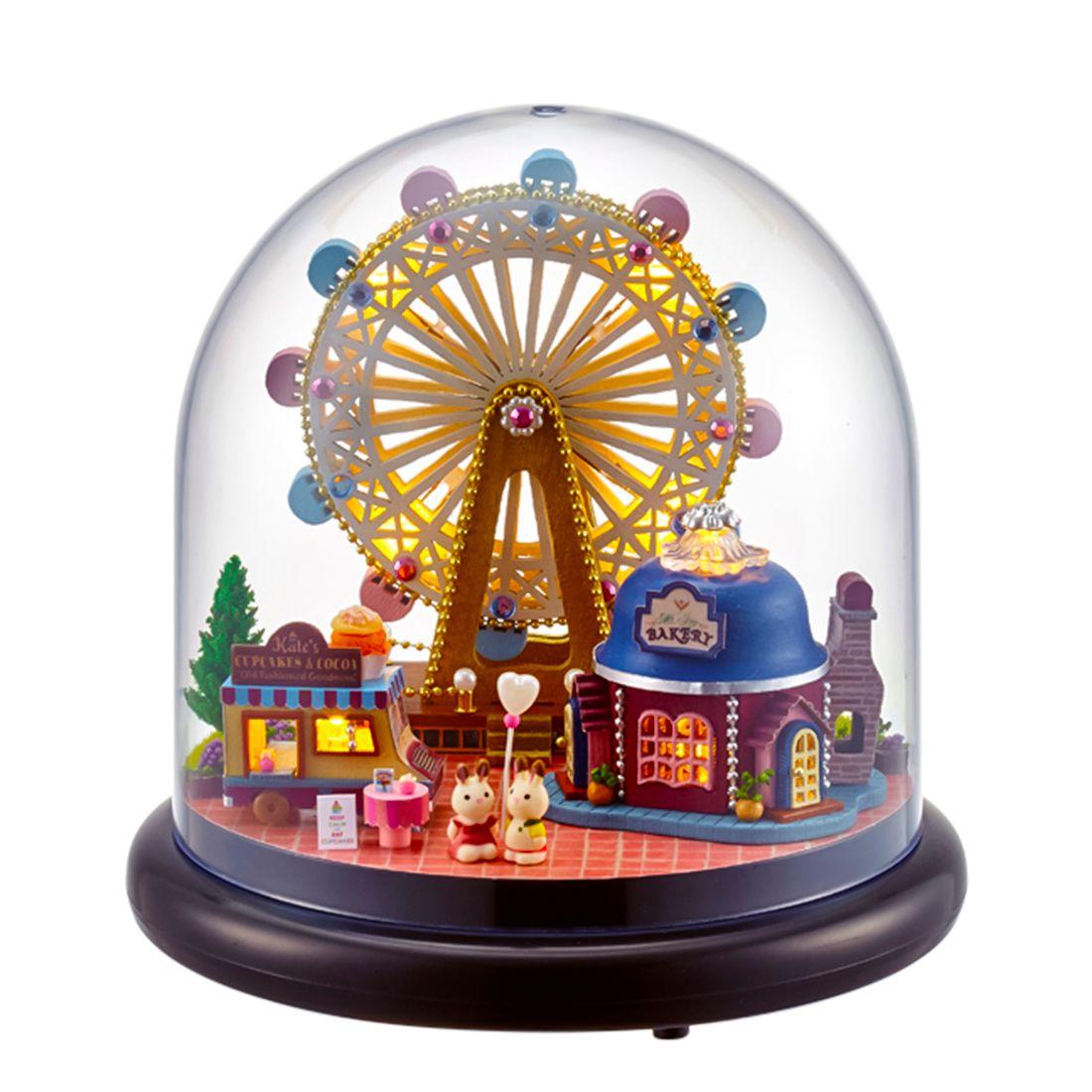 Weihnachtsgeschenke Haushalt.Interessante Puppenhaus Glücklich Riesenrad 3d Montage Diy Haushalt Kreative Haus Kit Weihnachtsgeschenke Spielzeug Für Kinder