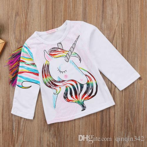 93140bcc4f21 2019 2019 New Fashion Toddler Kids Girls Designer Clothes Pattern Unicorn  Long Sleeve Tops T Shirt Clothes 1 6y From Qinqin342, $0.11 | DHgate.Com