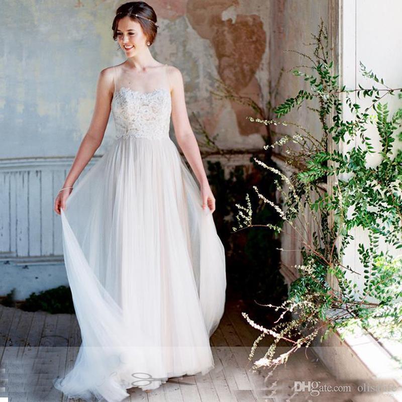compre elegantes vestidos de novia bohemios 2017 scoop illusion neck