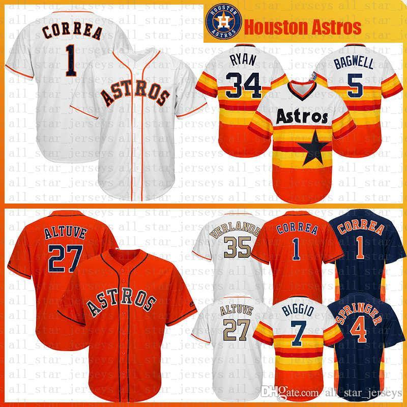 new style 71e66 ab606 27 Jose Altuve 4 George Springer 1 Carlos Correa Houston Baseball Jersey  Astros 35 Justin Verlander 2 Alex Cool base jerseys navy orange