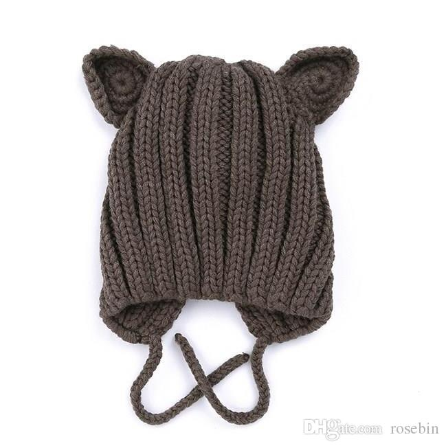 2019 winter new baby knit warm earmuffs children's hat