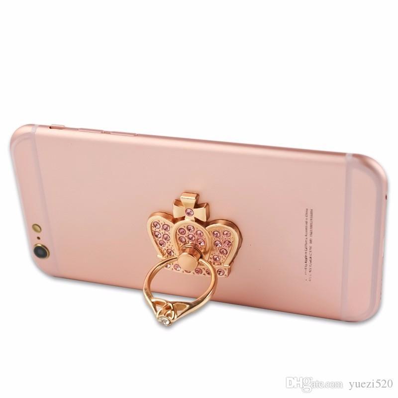 360 Degree Finger Ring Crown Diamond Bling Rhinestone Mobile Phone Smartphone Holder For Samsung Note 9 Tablet pc Metal Ring