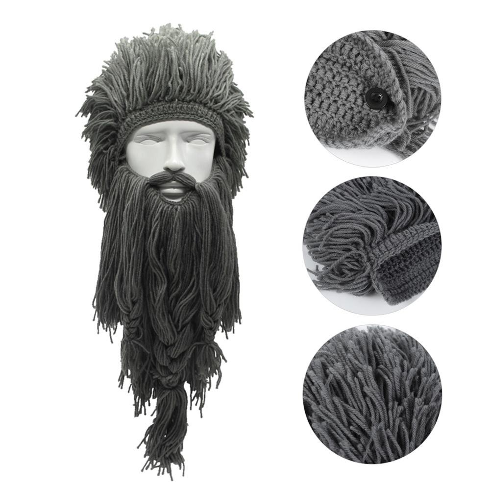 Compre Unisex De Punto Peluca Larga Barba Vikingo Sombrero De ...