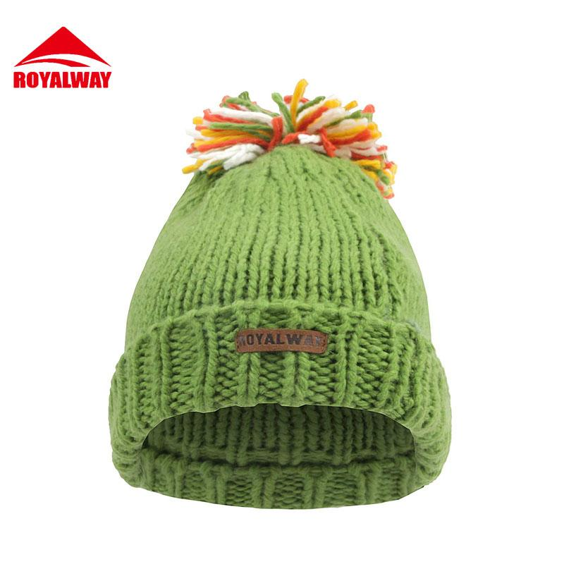 ROYALWAY Women Outdoor Beanie Hiking Hat Winter Tourism Warm Knit Hats Bonnet Femme Free Shipping#RPCL4551F