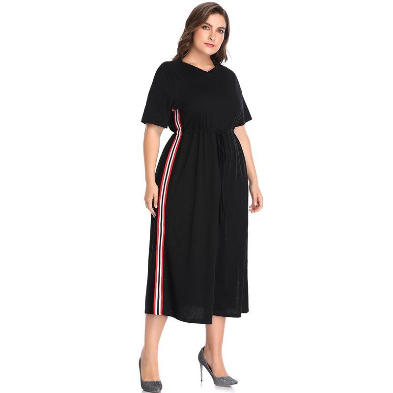 Women Dress Plus Size 5XL Street Fashion Striped Summer Daily Casual ...