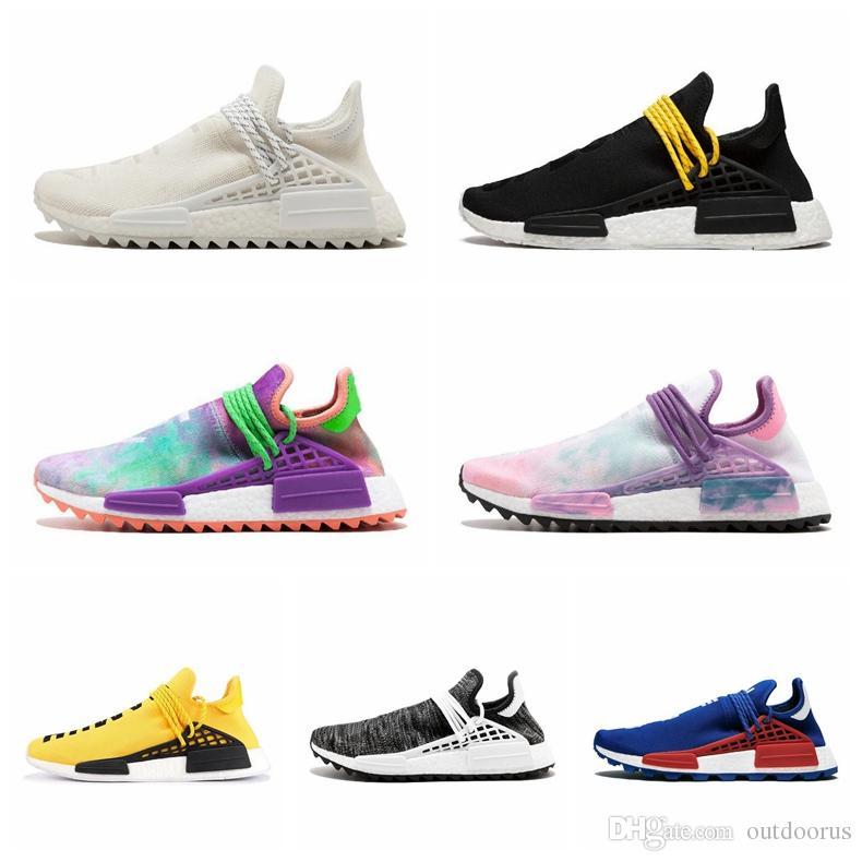 4bffb897ff902 2019 36 45 NMD Human Race Trail Running Shoes Men Women Pharrell Williams  HU Runner Yellow Black White Red Green Grey Blue Sport Runner Sneaker From  ...