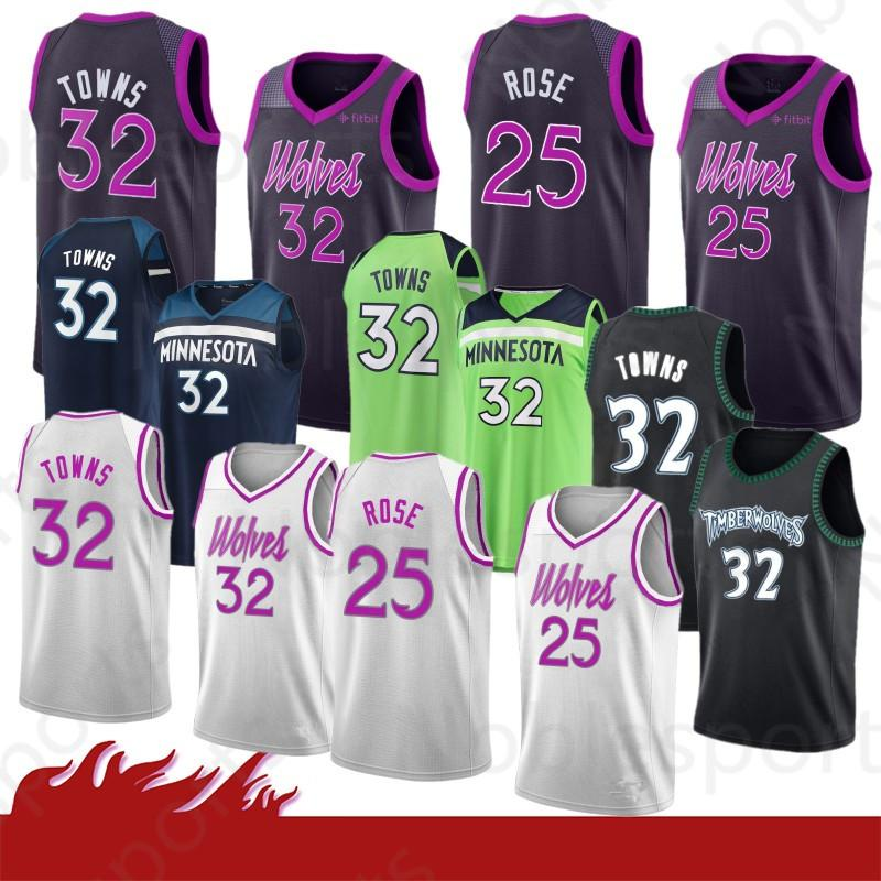 9a95903fd65 2019 New Youth Kid S 25 Derrick   Rose Stitched Minnesota Jersey  Timberwolves 32 Karl Anthony   Towns Basketball Jerseys From Noblesports