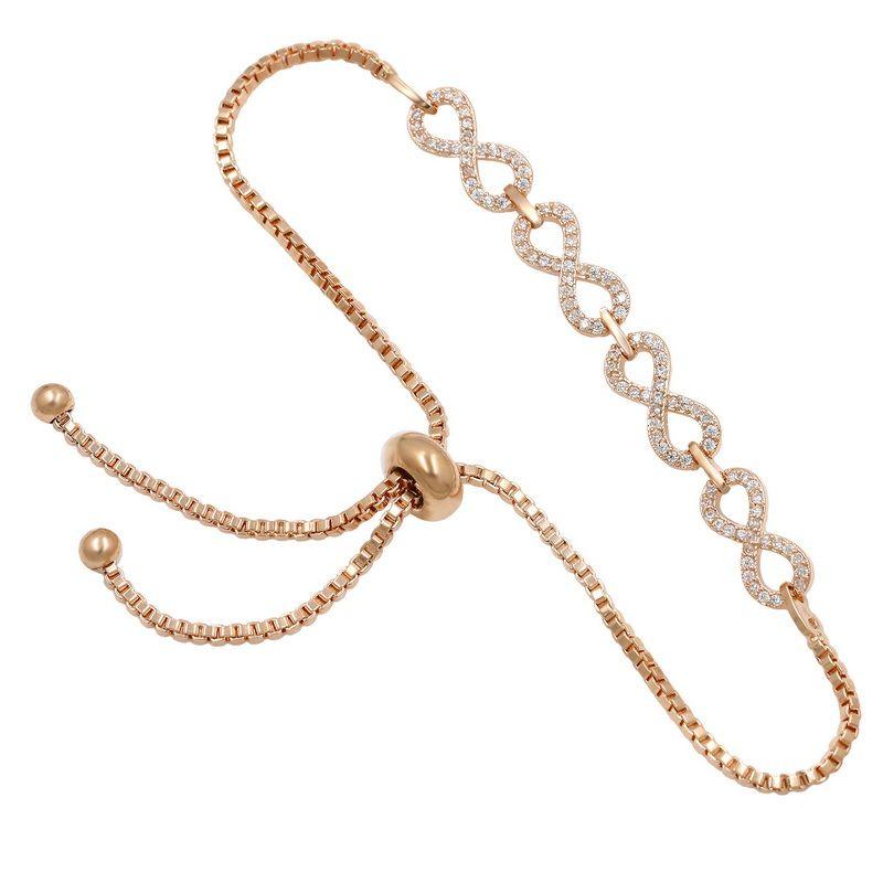 WEIMANJINGDIAN Marke Zirkonia Kristall CZ Unendlich Einstellbare Bolo-Armbänder für Frauen oder Hochzeit in Silber / Gold-Farben