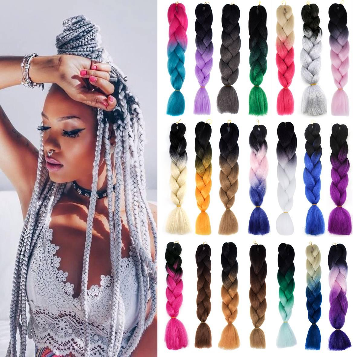 2020 24Inch 3Tone Colors African Ombre Hair Attachment For
