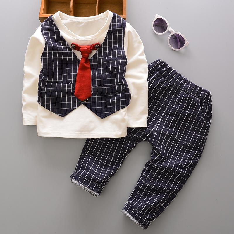 1e862d6924be6 Acheter Printemps Automne Enfants Filles Garçons Coton Vêtements Ensembles  Mode Bébé Fake Gilet T Shirt Pantalon   Ensembles Enfants Cravate Vêtements  ...