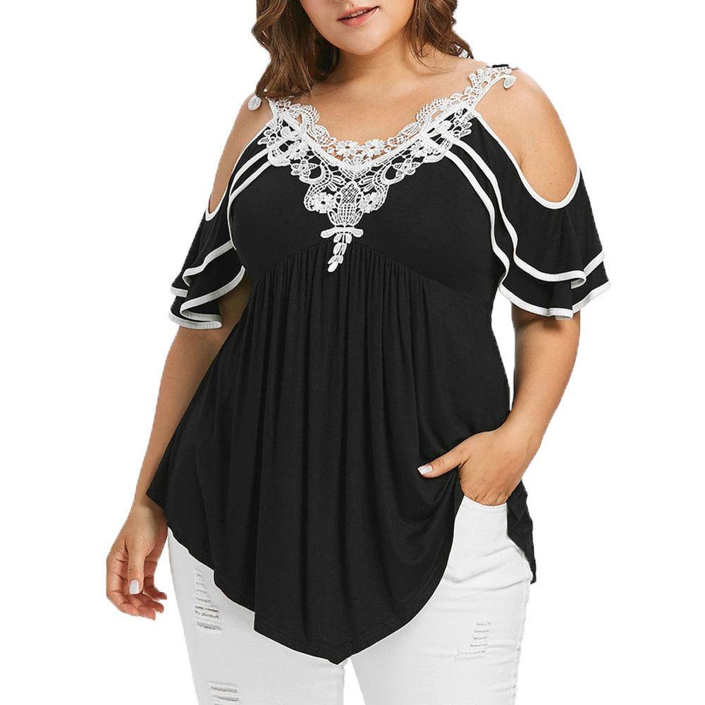 2e48b25f1b7a Tamaño Plus 5xl Verano Para Mujer Tops y Blusas Streetwear Encaje Hombro  Frío Camisetas Camisetas Túnica Top Para Mujer Ropa