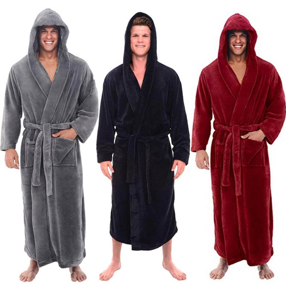 fa279334730e Moda casual para hombre albornoces de franela túnica con capucha de manga  larga pareja hombres mujer bata de felpa chal kimono masculino cálido ...