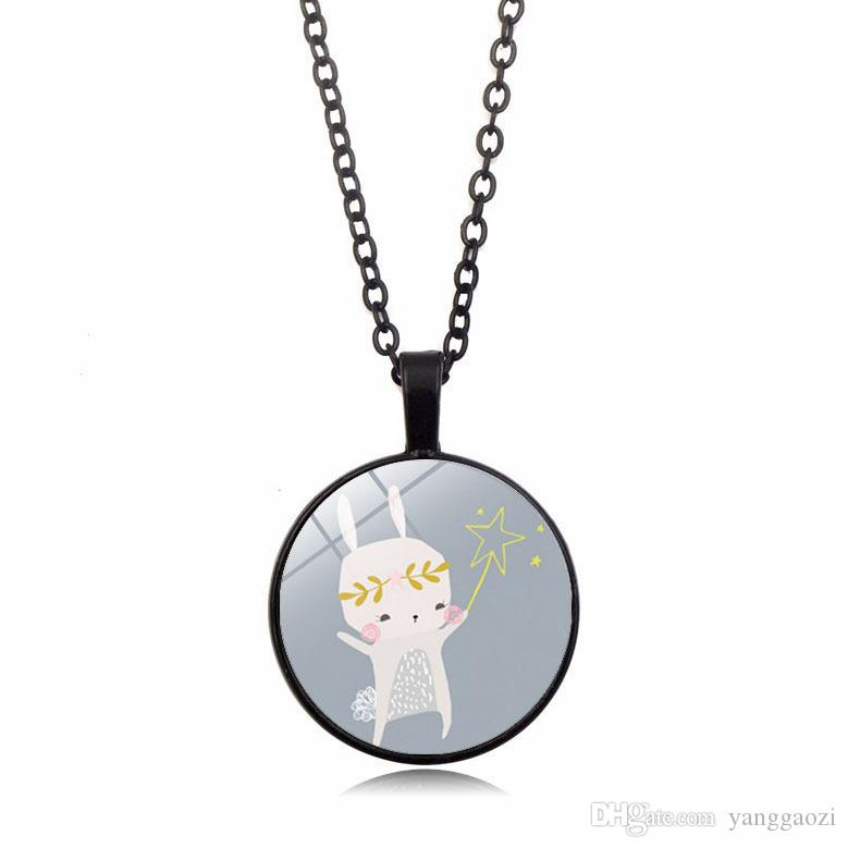 Cartoon pattern new accessories Cute rabbit time gemstone necklace Glass dome pendant necklace foreign trade cross-border jewelry wholesale