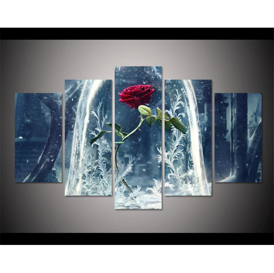 Beauty beast5 pieces hd canvas printing new home decoration art painting unframed framed