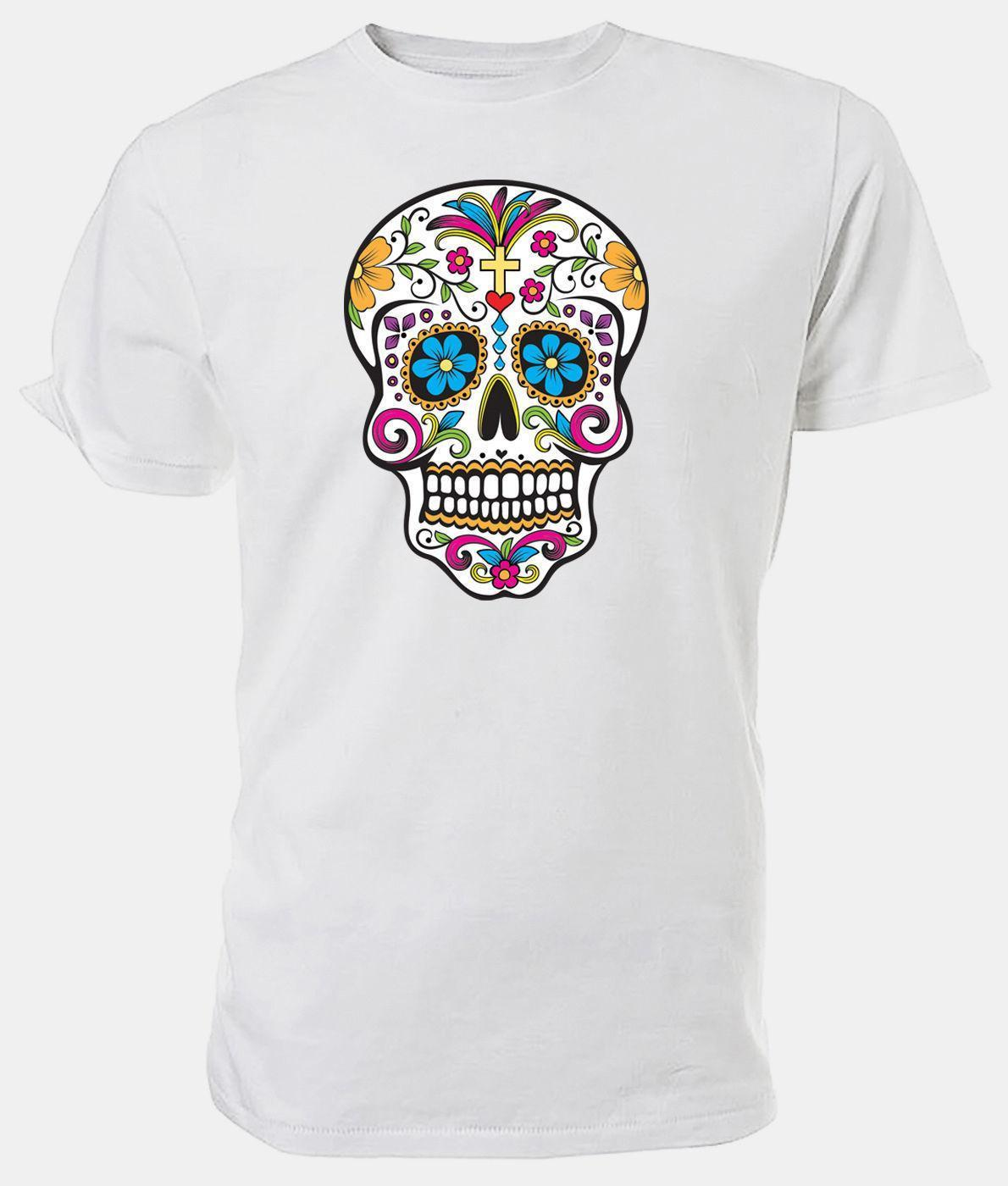 61cc311a6 Sugar Skull T Shirt, EMO/FANTASY Choice Of Size & Colour! Cool T Shirts For  Boys Online Cool Team Shirts From Jie57, $14.67| DHgate.Com