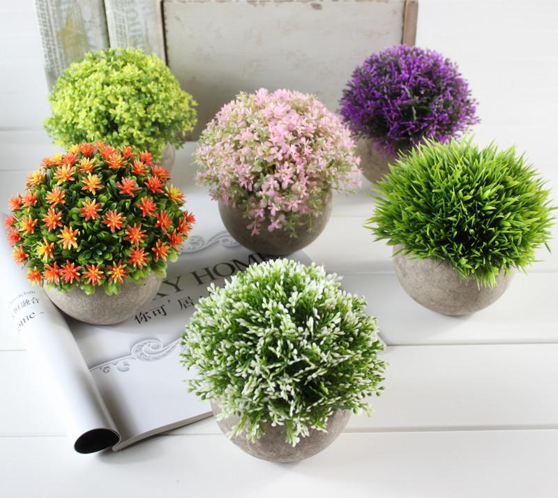 Artificial Flowers Potted Plant Grass Ball Plastic Fake Flower Green Color Plant Leisure Birthday Party Wedding Decorations 13cjE1