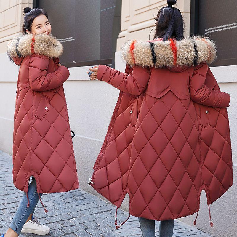 new product 96dea 986eb 2018 neue Ankunft Winterjacke Frauen Mit Bunten Pelz Mit Kapuze Damen  Jacken Winter Outwear Lange Weiblichen Mantel Parka Schlank