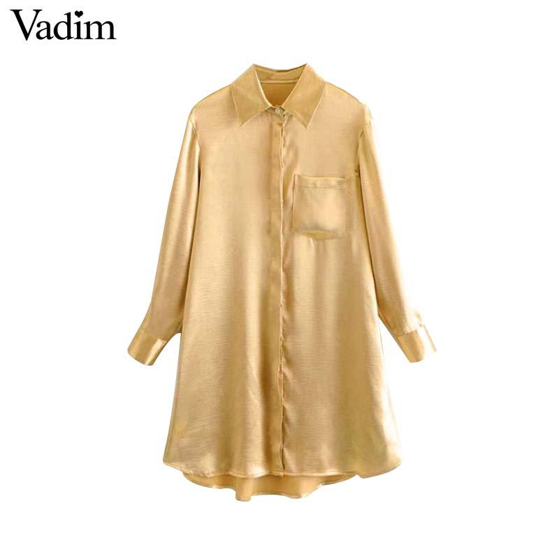 0a9d627d0f2b7 2019 Vadim Women Solid Golden Long Blouse Pockets Asymmetrical Design Long  Sleeve Shirts Female Straight Casual Tops Blusas LA608 From Maoku