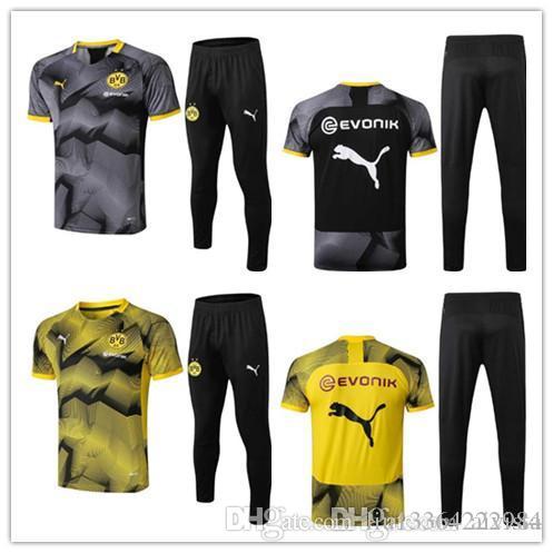 timeless design 3a4c6 15fe0 2019 2020 Borussia Dortmund tracksuit Set Men Kit short sleeve Training  suit pants football 19 Borussia Dortmund AUBAMEYANG REUS sports wear