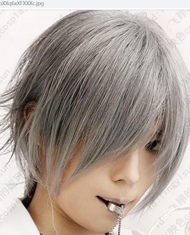 LL HOT Free >>>Hot Soul Eater Franken Stein Cosplay Wig Grey silver costume Short party wig