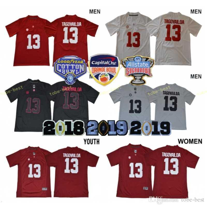 the best attitude 48f0a 9a2e4 Men Women Kids Tua Tagovailoa Jerseys Woman 13 Alabama Crimson Tide 2018  Sugar 2019 Orange Bowl Patch Man Youth Football College Red White