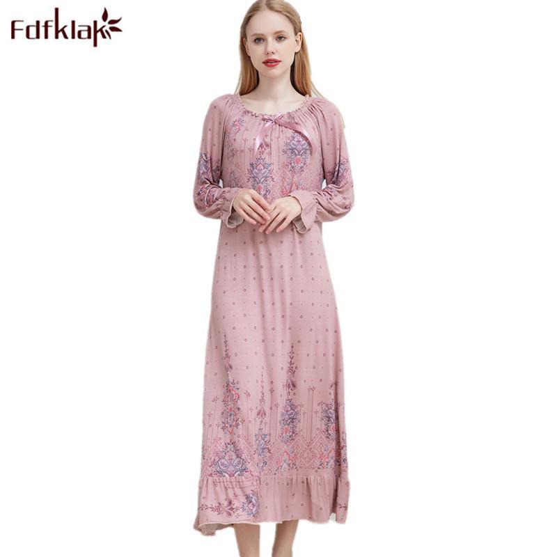 9f628018cf 2019 Fdfklak M Xxl Plus Size Sexy Sleepwear Spring Autumn Night ...