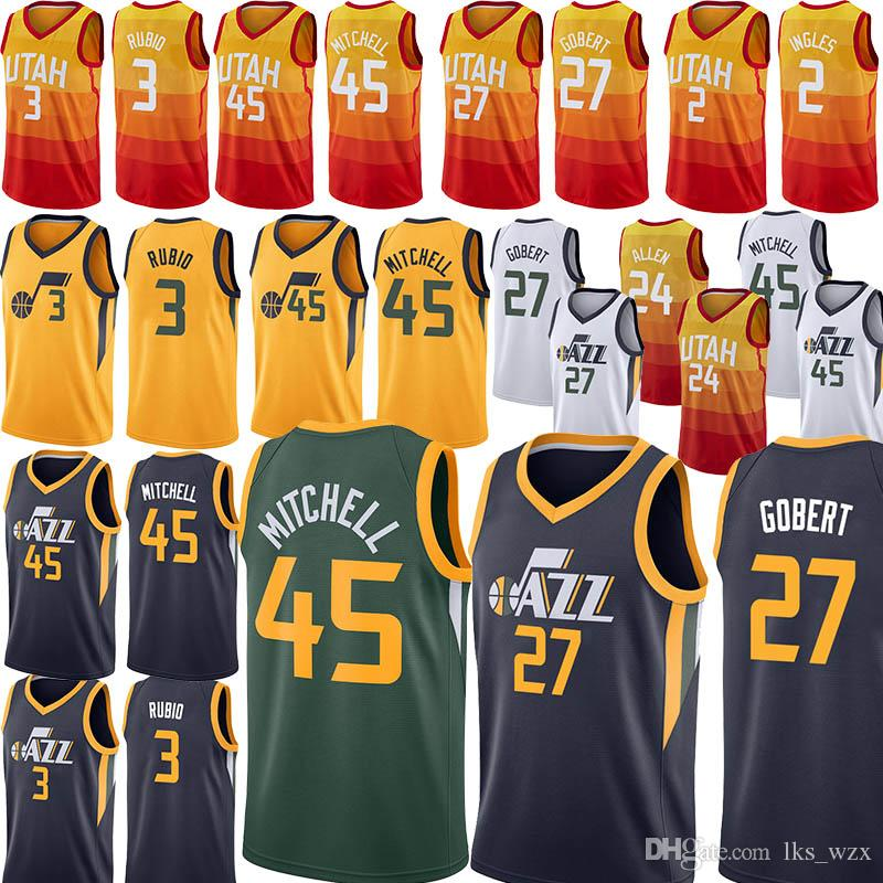 huge discount 5406e 1dd68 The New Utah 45 Donovan Mens Mitchell jerseys 3 Ricky Rubio jersey Rudy 27  Gobert jersey Karl 32 Malone jersey Basketball jerseys