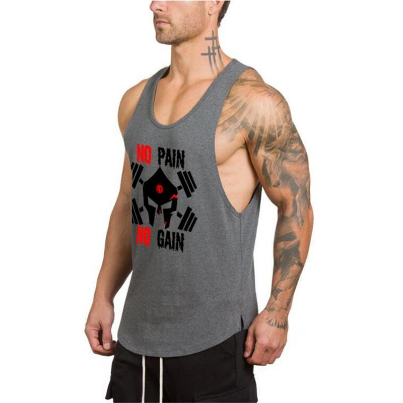 76eb03f6 Black Skull Bodybuilding Tank Top Men 2019 Fitness Mens Clothing No Pain No  Gain Shirt Crossfit Vest Muscle Singlets Musculation T Shirt Cool Design T  ...