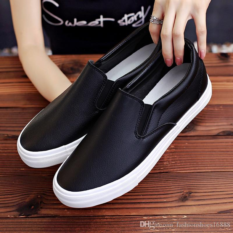 d45216f69be White Sneakers Men Leather Casual Shoes Men Loafers 2019 Spring Autumn  Fashion Black Trainers Mens Trend Breathable Casual Walking Sneakers Formal  Shoes ...