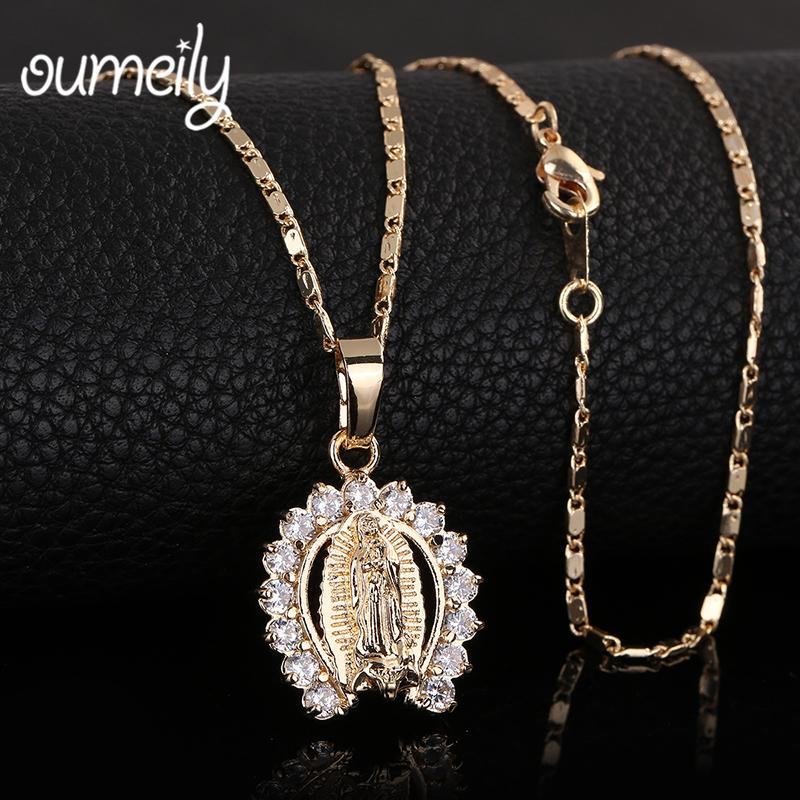 OUMEILY Figure Jesus Necklace Christian Statement Vintage For Women Men Gold Color Jewelry Pendant African Beads Accessories