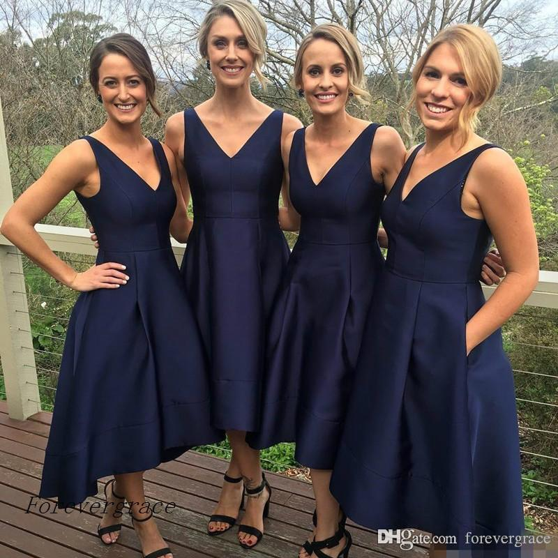 2019 Simple Cheap Bridesmaid Dress A-Line Satin with Pockets Maid of Honor Dress Wedding Guest Gown Custom Made Plus Size
