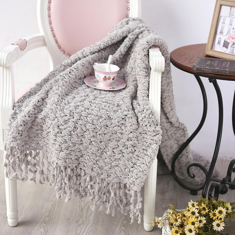 Gray White Spring American Style Crocheted Blanket For Sofa Couch